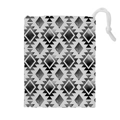 Hand Painted Black Ethnic Pattern Drawstring Pouches (Extra Large)