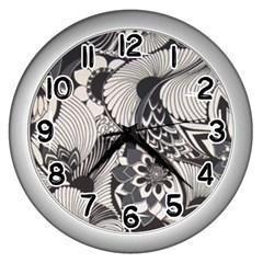 60s Mod Print Fab Wall Clocks (silver)