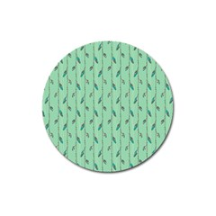 Seamless Lines And Feathers Pattern Magnet 3  (Round)
