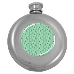 Seamless Lines And Feathers Pattern Round Hip Flask (5 oz)