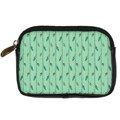 Seamless Lines And Feathers Pattern Digital Camera Cases