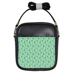 Seamless Lines And Feathers Pattern Girls Sling Bags