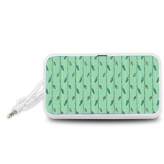 Seamless Lines And Feathers Pattern Portable Speaker (White)