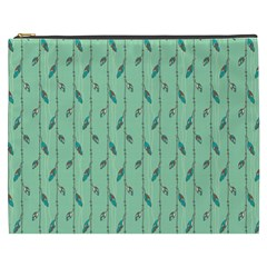 Seamless Lines And Feathers Pattern Cosmetic Bag (XXXL)