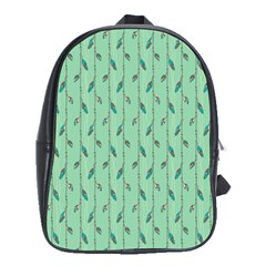Seamless Lines And Feathers Pattern School Bags (XL)