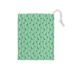 Seamless Lines And Feathers Pattern Drawstring Pouches (Medium)