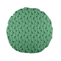 Seamless Lines And Feathers Pattern Standard 15  Premium Flano Round Cushions