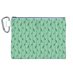 Seamless Lines And Feathers Pattern Canvas Cosmetic Bag (XL)