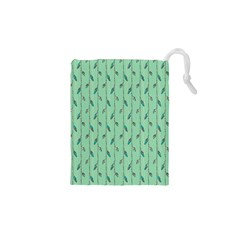 Seamless Lines And Feathers Pattern Drawstring Pouches (XS)