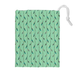 Seamless Lines And Feathers Pattern Drawstring Pouches (Extra Large)