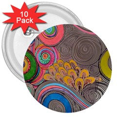 Rainbow Passion 3  Buttons (10 Pack)