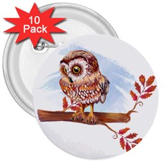 Owl 3  Buttons (10 pack)