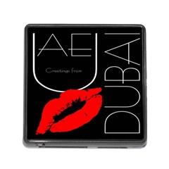 Greetings From Dubai  Red Lipstick Kiss Black Postcard UAE United Arab Emirates Memory Card Reader (Square)