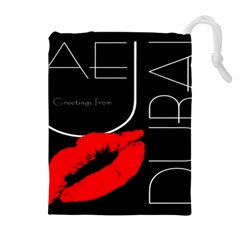 Greetings From Dubai  Red Lipstick Kiss Black Postcard Uae United Arab Emirates Drawstring Pouches (extra Large)