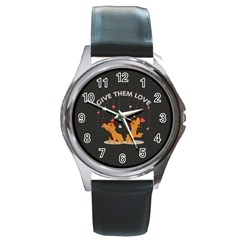 Give Them Love Round Metal Watch