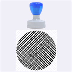 Woven2 Black Marble & Blue Marble (r) Rubber Stamp Round (large)