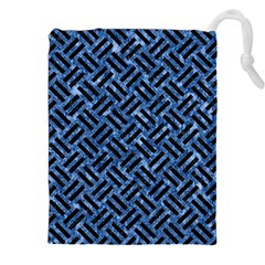 Woven2 Black Marble & Blue Marble (r) Drawstring Pouch (xxl)
