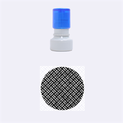 Woven2 Black Marble & Blue Marble Rubber Stamp Round (small)