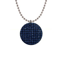 Woven1 Black Marble & Blue Marble 1  Button Necklace