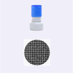 Woven1 Black Marble & Blue Marble Rubber Stamp Round (small)
