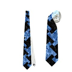 Houndstooth2 Black Marble & Blue Marble Necktie (one Side)