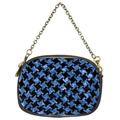 Houndstooth2 Black Marble & Blue Marble Chain Purse (two Sides)
