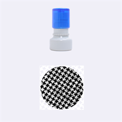 Houndstooth2 Black Marble & Blue Marble Rubber Stamp Round (small)