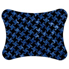 Houndstooth2 Black Marble & Blue Marble Jigsaw Puzzle Photo Stand (bow)