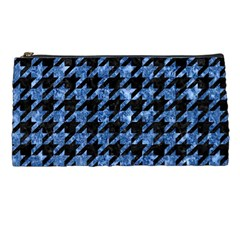 Houndstooth1 Black Marble & Blue Marble Pencil Case