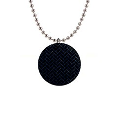 Brick2 Black Marble & Blue Marble 1  Button Necklace