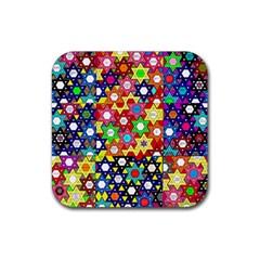 Star Of David Rubber Coaster (square)