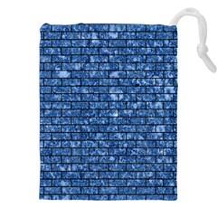 Brick1 Black Marble & Blue Marble (r) Drawstring Pouch (xxl)