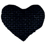 BRICK1 BLACK MARBLE & BLUE MARBLE Large 19  Premium Flano Heart Shape Cushion Front
