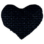 BRICK1 BLACK MARBLE & BLUE MARBLE Large 19  Premium Flano Heart Shape Cushion Back