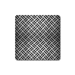 Woven2 Black Marble & Silver Brushed Metal (r) Magnet (square)