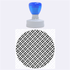Woven2 Black Marble & Silver Brushed Metal (r) Rubber Stamp Round (large)