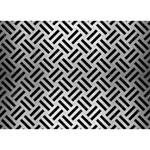 WOVEN2 BLACK MARBLE & SILVER BRUSHED METAL (R) Heart Bottom 3D Greeting Card (7x5) Front