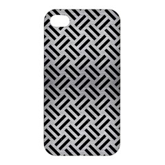 Woven2 Black Marble & Silver Brushed Metal (r) Apple Iphone 4/4s Premium Hardshell Case
