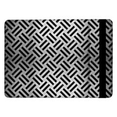 Woven2 Black Marble & Silver Brushed Metal (r) Samsung Galaxy Tab Pro 12 2  Flip Case
