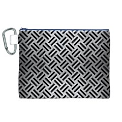 Woven2 Black Marble & Silver Brushed Metal (r) Canvas Cosmetic Bag (xl)