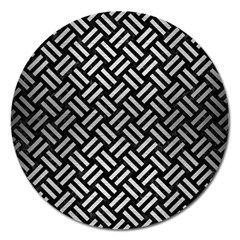 Woven2 Black Marble & Silver Brushed Metal Magnet 5  (round)