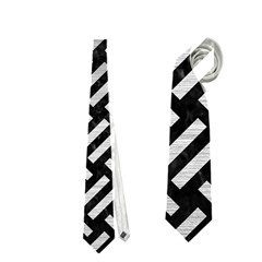 Woven2 Black Marble & Silver Brushed Metal Necktie (one Side)