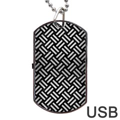 Woven2 Black Marble & Silver Brushed Metal Dog Tag Usb Flash (one Side)
