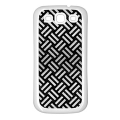 Woven2 Black Marble & Silver Brushed Metal Samsung Galaxy S3 Back Case (white)