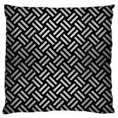 Woven2 Black Marble & Silver Brushed Metal Large Flano Cushion Case (one Side)