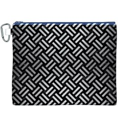 Woven2 Black Marble & Silver Brushed Metal Canvas Cosmetic Bag (xxxl)