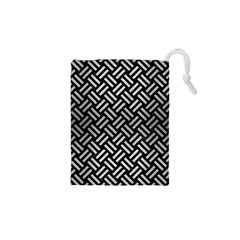 Woven2 Black Marble & Silver Brushed Metal Drawstring Pouch (xs)