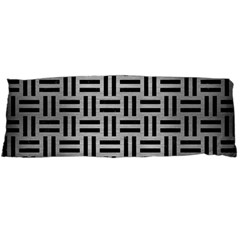 Woven1 Black Marble & Silver Brushed Metal (r) Body Pillow Case (dakimakura)