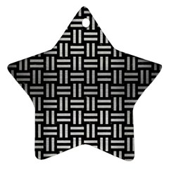 Woven1 Black Marble & Silver Brushed Metal Ornament (star)