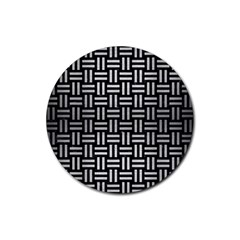 Woven1 Black Marble & Silver Brushed Metal Rubber Coaster (round)